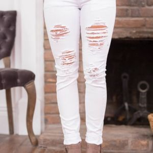 Pink Lily Heather White Distressed Jeans